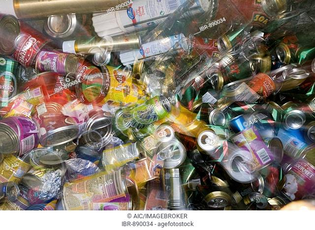Empty cans in a storage container