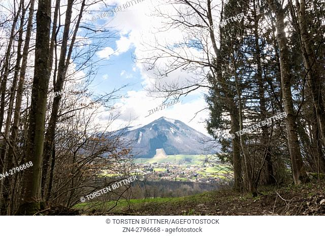 Rammelspitz Mountain and the City of Molln nearby the Limestone Alps National Park, Austria