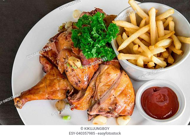 Meat Dishes - Grilled Chicken with French fried