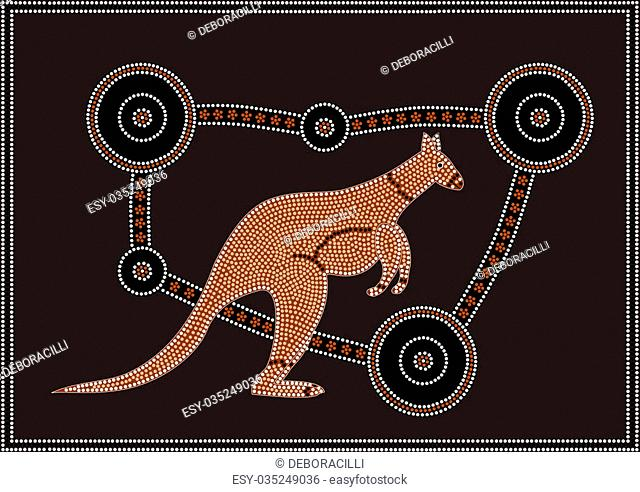 A vector illustration based on aboriginal style of dot painting depicting Kangaroo