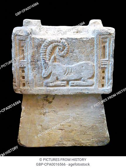 Yemen: Ancient South Arabian incense burner decorated with a bas-relief ibex, c. 200 BCE - 50 CE