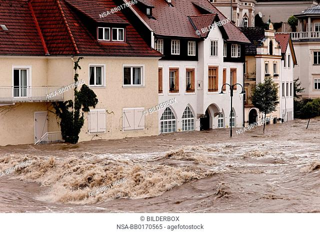 Flood and flooding of streets in Steyr, Austria