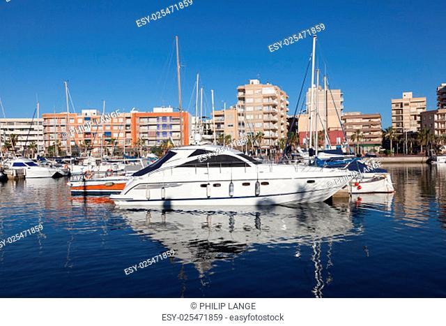Luxury yachts and motorboats in the marina of Puerto de Mazarron, province of Murcia, Spain