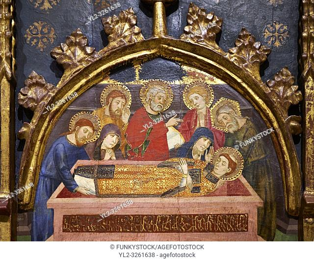 Gothic painted Panel Altarpiece of Saint Stephen by Jaume Serra. Tempera, gold leaf and metal plate on wood. Circa 1385. Dimensions 185. 7 x 186