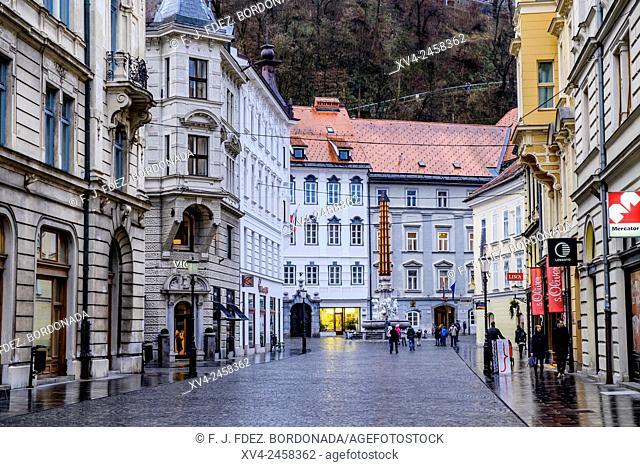 Stritarjeva ulica, main entrance old town, Ljubljana, Slovenia, Europe