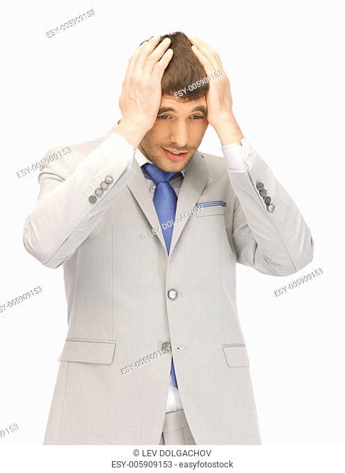 bright closeup portrait picture of unhappy man