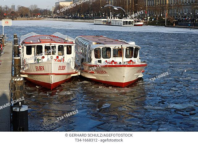Alster River Ferry in winter, Hamburg Germany