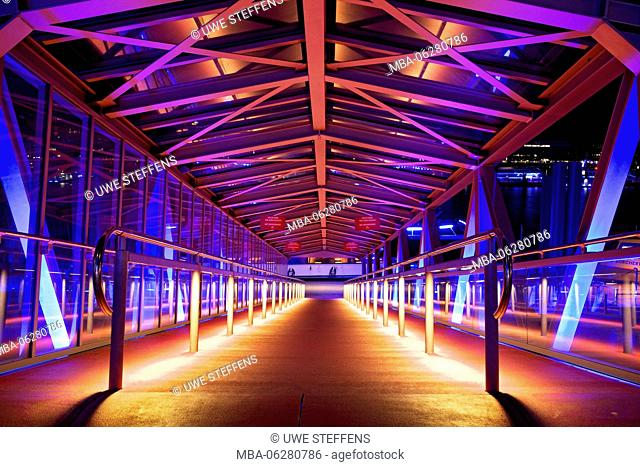 Pier at 'Stage Theater im Hafen Hamburg' in the evening BluePort illumination