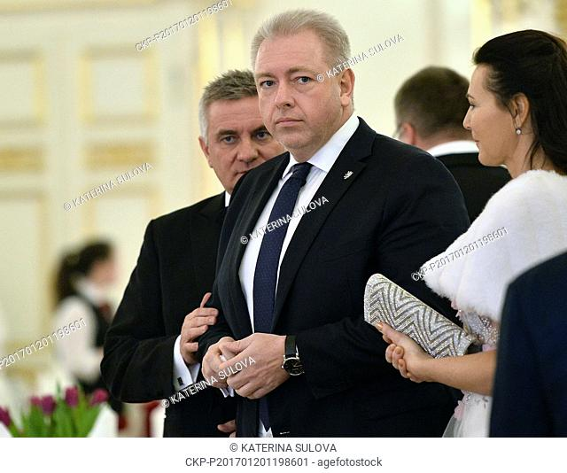 Head of the Presidential Office Vratislav Mynar, left, and Interior Minister Milan Chovanec attend a charity ball which Czech President Milos Zeman and First...
