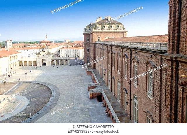 Front square of Reggia di Venaria and fountain