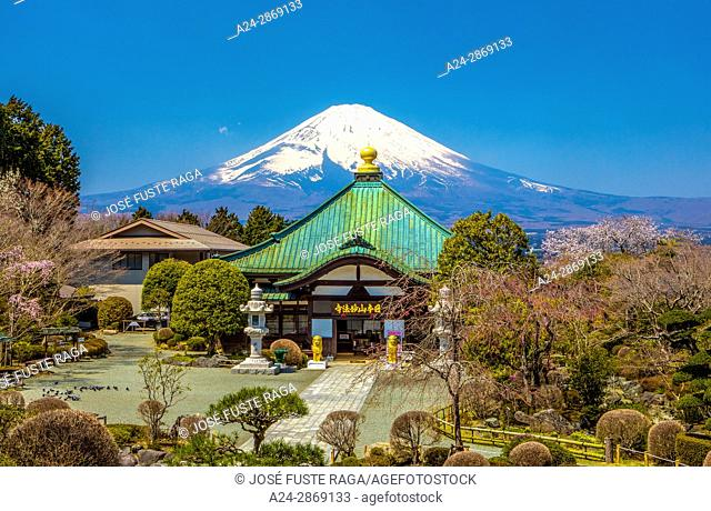 Japan, Gotemba City, temple and Mount Fuji