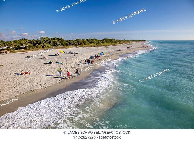 Venice Beach shoreline on the Gulf of Mexico from Venice Pier in Venice FLorida