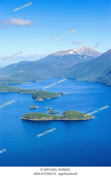 Aerial of a huge fjord in Fjordlands, South Island, New Zealand