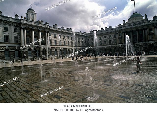 Fountains in front of buildings, Somerset House, London, England