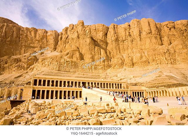 Hatshepsut's Temple of Deir Al Bahari on the West Bank at Luxor in Egypt