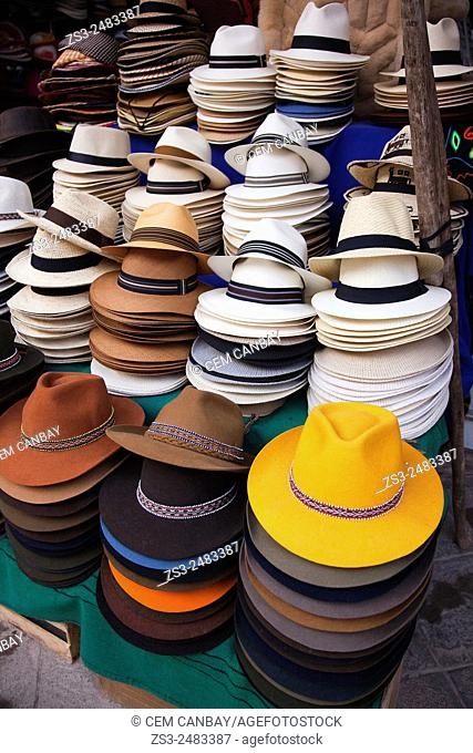 Hats in a shop at the market, Pisaq, Cuzco Region, Peru, South America