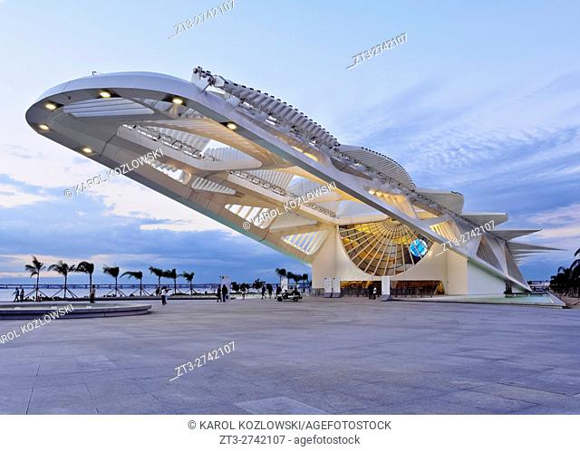 Brazil, City of Rio de Janeiro, Praca Maua, Twilight view of the Museum of Tomorrow(Museu do Amanha) by Santiago Calatrava
