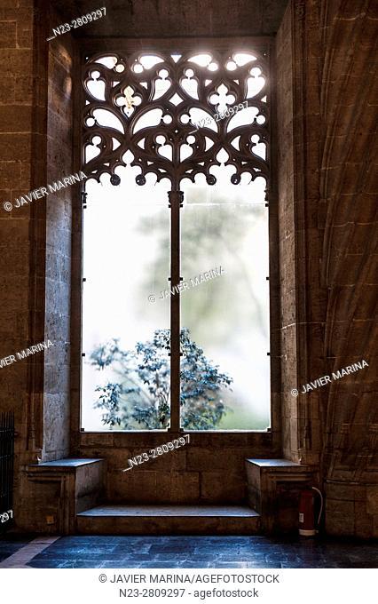 Window in the hall of columns of the Lonja de la Seda (Silk Exchange), Valencia, Spain