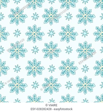 Pattern of snowflakes on a blue background