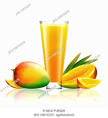 Fresh mango and glass of juice