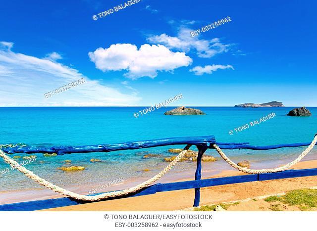 Aiguas Blanques Agua blanca Ibiza beach with turquoise water