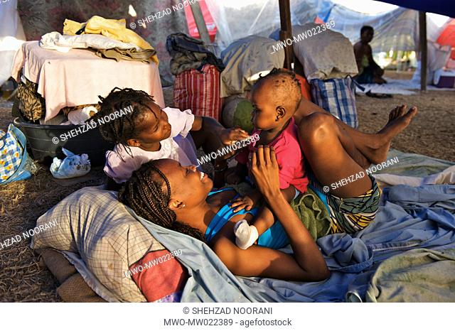 Children in a makeshift settlement for people displaced by the earthquake, in the Champs-de-Mars Plaza, in Port-au-Prince