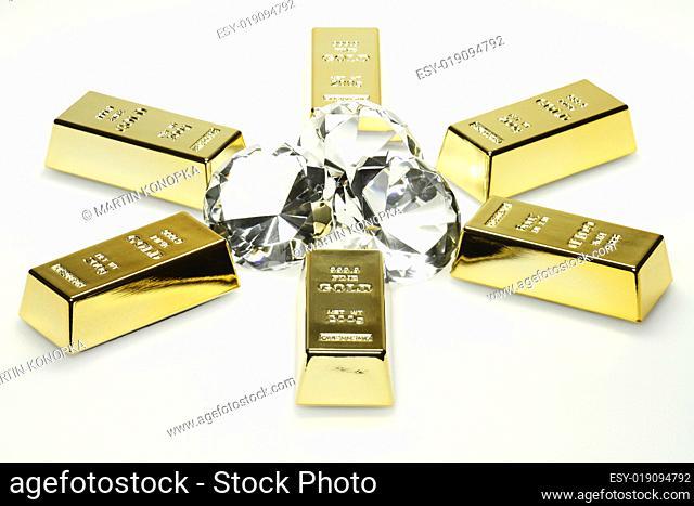 Goldbarren und Diamante