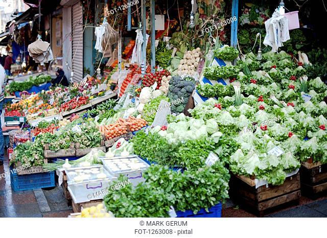 An abundance of vegetables at an outdoor farmer's market