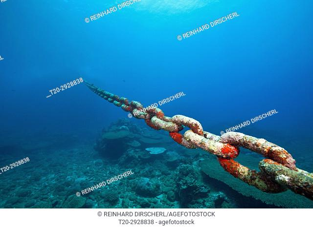 Chain of moored Buoy damages Reef, Christmas Island, Australia