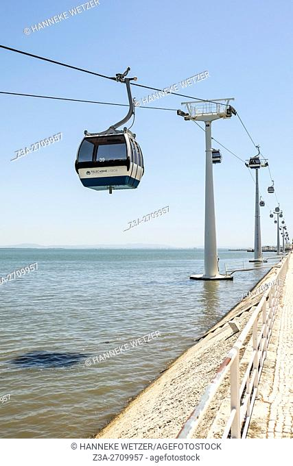 Cable car construction in Lisbon, Portugal, Europe