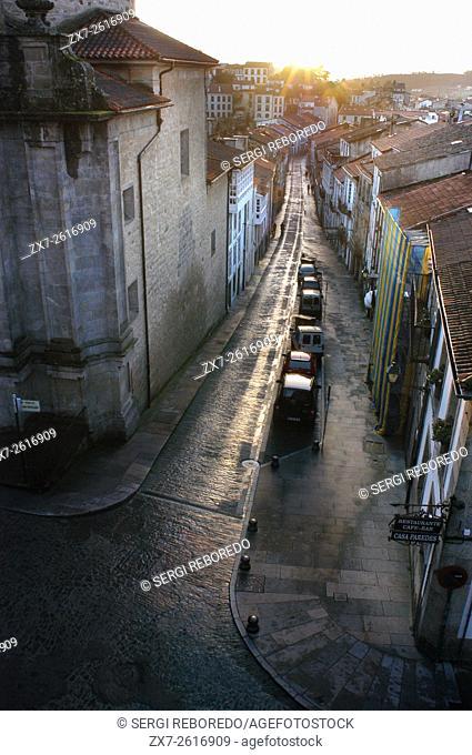 Way of St. James, Jacobean Route. San Fructuoso street. Old Town. Santiago de Compostela. St. James's Way, St. James's Path, St
