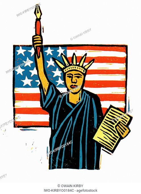 Statue of Liberty with Pen and Paper