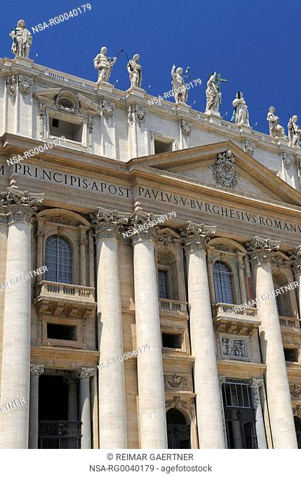 Vertical detail of Facade of St Peters Basilica in Rome