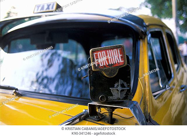 Taxi for hire. Kolkata (Calcutta). West Bengal, India