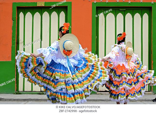 El San Juanero folk dance. Traditional attire from the Colombian Tolima region