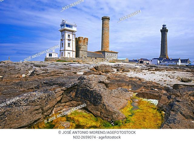 Penmarch, Eckmuhl lighthouse, Phare d'Eckmühl, Pointe de Penmarc'h, Finisterre, Bretagne, Brittany, France, Europe
