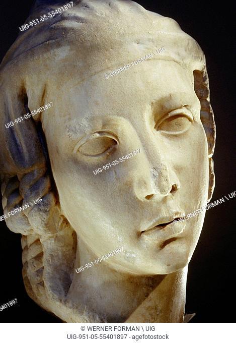 Sculpted head of a veiled woman