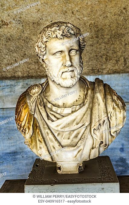 Ancient Emperor Antoninus Pius Bust Statue Stoa of Attalos Agora Market Place Athens Greece. Statue 138-161 AD Stoa built in 150 BC