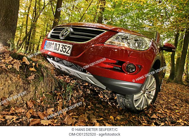 VW Volkswagen Tiguan 1.4 TSI Track & Field, model year 2007-, red, standing, upholding, diagonal from the front/below, frontal view, Forest, Herbst, Foliage