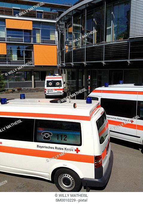 Bavarian Ambulance in front of Hospital, Germany