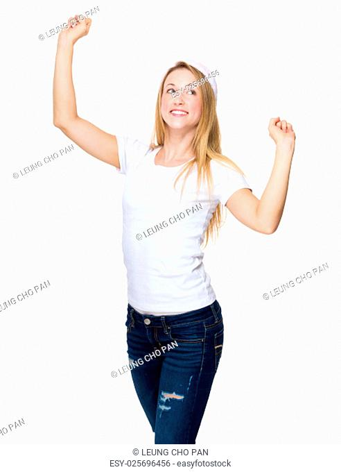 Excited Woman with red christmas hat raised two hand up