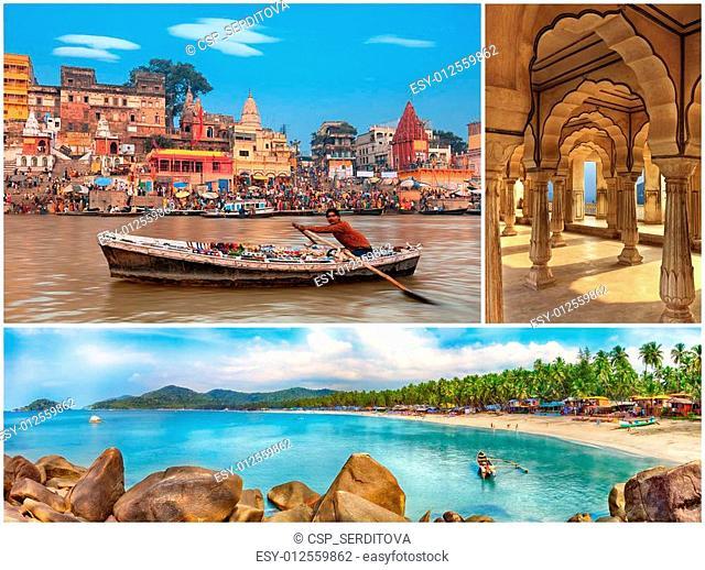 Indian landmarks collage, Goa, Varanasi, Jaipur