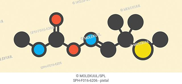 Aldicarb pesticide molecule. Stylized skeletal formula (chemical structure). Atoms are shown as color-coded circles: hydrogen (hidden), carbon (grey)