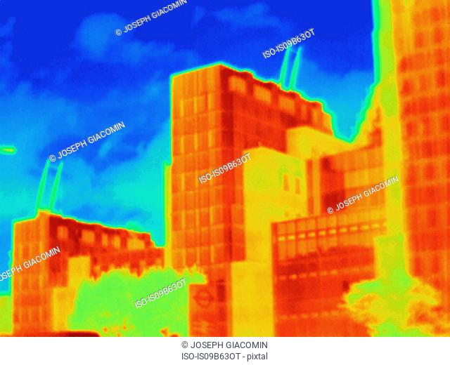 Thermal photograph of detail of MI6 building, London, UK