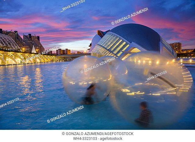 Hemisferic. City of Arts and Sciences . Architect Santiago Calatrava. Valencia. Comunidad Valencia. Spain. Europe