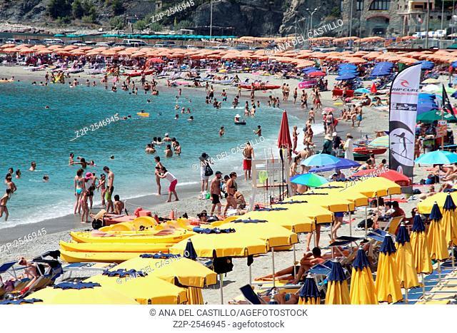 MONTEROSSO AL MARE ITALY-JULY 17, 2015: Monterosso al Mare Beach , town in famous Cinque Terre on summer on July 2015 in Monterosso Ligurian sea Italy