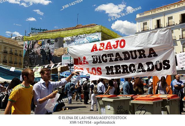 Movement 15M camp at Puerta del Sol, Madrid
