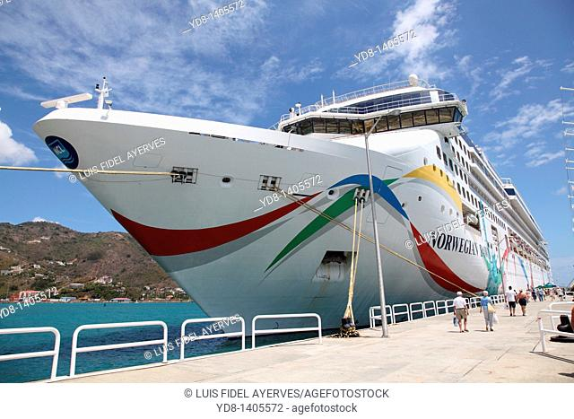 Cruiser docked at the port of the British island of Tortola in the Caribbean Sea
