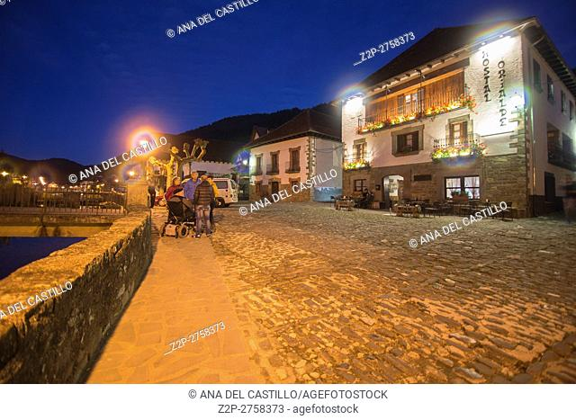 The picturesque village of Ochagavía, right in the middle of Navarre's Eastern Pyrenees Spain Nightscape