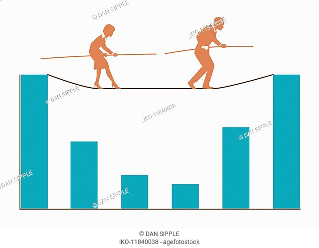 Businessman and businesswoman walking tightrope above bar graph